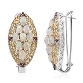Ethiopian Welo Opal, Mozambique Garnet 14K YG and Platinum Over Sterling Silver Elongated Omega Clip Earrings TGW 6.200 cts.