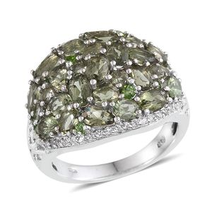 Bohemian Moldavite, Russian Diopside, White Topaz Platinum Over Sterling Silver Openwork Cluster Ring (Size 5.0) TGW 5.600 cts.