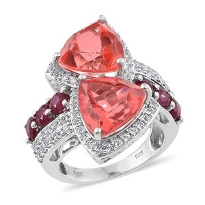 Papaya Quartz, Niassa Ruby, White Topaz Platinum Over Sterling Silver Ring (Size 9.0) TGW 17.21 cts.