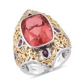 Papaya Quartz, Orissa Rhodolite Garnet 14K YG and Platinum Over Sterling Silver Openwork Elongated Ring (Size 6.0) TGW 16.95 cts.