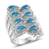 Jewel Studio by Shweta Malgache Neon Apatite, White Topaz Platinum Over Sterling Silver Ring (Size 6.0) TGW 2.850 cts.