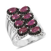 Niassa Ruby, Thai Black Spinel Platinum Over Sterling Silver Elongated Open Band Ring (Size 7.0) TGW 3.70 cts.