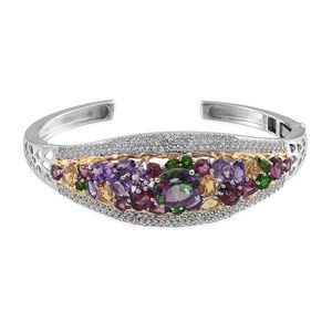 Northern Lights Mystic Topaz, Multi Gemstone 14K YG and Platinum Over Sterling Silver Cuff TGW 21.58 cts.