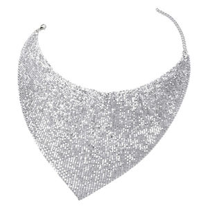 Designer Inspired Silvertone Necklace (20-22 in)