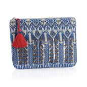 J Francis - Blue and White Jacquard Clutch (11x8 in)