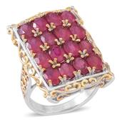 Niassa Ruby 14K YG and Platinum Over Sterling Silver Elongated Ring (Size 7.0) TGW 11.200 cts.