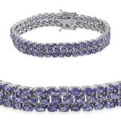 Tanzanite Platinum Over Sterling Silver 3 Row Oval Cluster Bracelet (7.50 In) TGW 20.64 cts.