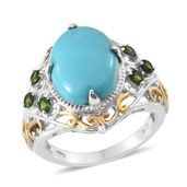 Sonoran Blue Turquoise, Russian Diopside 14K YG and Platinum Over Sterling Silver Ring (Size 7.0) TGW 7.35 cts.