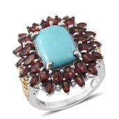 Sonoran Blue Turquoise, Mozambique Garnet 14K YG and Platinum Over Sterling Silver Ring (Size 7.0) TGW 11.630 cts.
