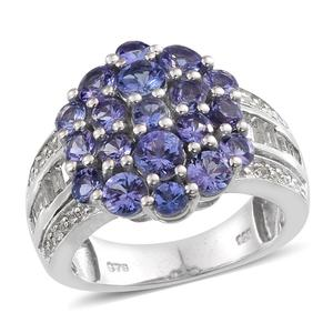 Tanzanite (2A), White Topaz Platinum Over Sterling Silver Ring (Size 8.0) TGW 3.93 cts.