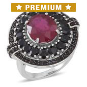 Niassa Ruby, Thai Black Spinel Sterling Silver Ring (Size 8.0) TGW 10.060 cts.