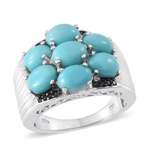 Sonoran Blue Turquoise, Thai Black Spinel Platinum Over Sterling Silver Ring (Size 7.0) TGW 5.550 cts.