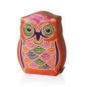 Orange Genuine Leather Owl Money Bank