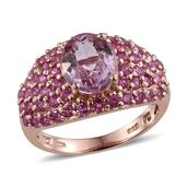 Kunzite, Madagascar Pink Sapphire 14K RG Over Sterling Silver Ring (Size 7.0) TGW 5.10 cts.