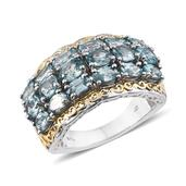 Cambodian Blue Zircon 14K YG and Platinum Over Sterling Silver Openwork Ring (Size 6.0) TGW 7.200 cts.