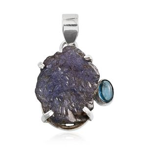 Rough Cut Tanzanite, Blue Topaz Sterling Silver Pendant without Chain TGW 22.70 cts.