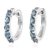 Santa Maria Aquamarine Sterling Silver Huggie Hoop Earrings TGW 1.40 cts.