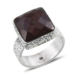Jewel Studio by Shweta Ruby (Color Enhanced) Sterling Silver Ring (Size 6.0) TGW 14.520 cts.