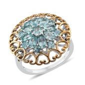 Madagascar Paraiba Apatite 14K YG and Platinum Over Sterling Silver Ring (Size 7.0) TGW 3.400 cts.
