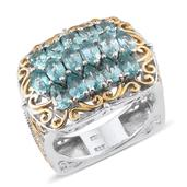 Madagascar Paraiba Apatite 14K YG and Platinum Over Sterling Silver Ring (Size 7.0) TGW 4.180 cts.