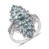 Madagascar Paraiba Apatite, White Topaz Platinum Over Sterling Silver Ring (Size 9.0) TGW 3.840 cts.