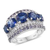 Himalayan Kyanite, Catalina Iolite, White Topaz Platinum Over Sterling Silver 5 Stone Ring (Size 6.0) TGW 7.060 cts.