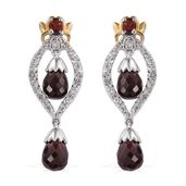 Mozambique Garnet, White Topaz 14K YG and Platinum Over Sterling Silver Earrings TGW 6.74 cts.