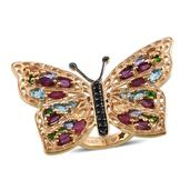 GP Multi Gemstone 14K YG Over Sterling Silver Butterfly Ring (Size 7.0) TGW 6.080 cts.