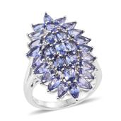 Tanzanite, White Zircon Platinum Over Sterling Silver Elongated Cluster Split Ring (Size 6.0) TGW 7.85 cts.