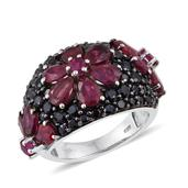 Niassa Ruby, Ruby, Thai Black Spinel Platinum Over Sterling Silver Floral Cluster Ring (Size 7.0) 0 TGW 7.28 cts.