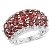 Mozambique Garnet, White Topaz Platinum Over Sterling Silver Ring (Size 5.0) TGW 4.800 cts.