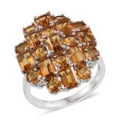Brazilian Citrine Platinum Over Sterling Silver Ring (Size 10.0) TGW 8.050 cts.