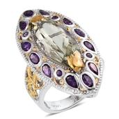 SUGAR by Gay Isber Green Amethyst, Amethyst 14K YG and Platinum Over Sterling Silver Elongated Ring (Size 7.0) TGW 12.320 cts.