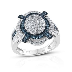 Certified Blue Diamond (IR), Diamond Platinum Over Sterling Silver Ring (Size 7.0) TDiaWt 1.00 cts, TGW 1.00 cts.
