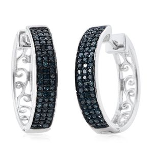 Certified Blue Diamond (IR) Platinum Over Sterling Silver Hoop Earrings TDiaWt 0.500Cts., TGW 0.50 Cts.