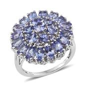 Tanzanite Platinum Over Sterling Silver Cluster Ring (Size 9.0) TGW 6.06 cts.