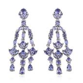 Tanzanite Platinum Over Sterling Silver Chandelier Earrings TGW 5.26 cts.