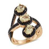Canary Apatite, Thai Black Spinel 14K YG Over Sterling Silver Trilogy Bypass Ring (Size 9.0) TGW 3.630 cts.