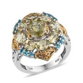 Yellow Apatite, Malgache Neon Apatite 14K YG and Platinum Over Sterling Silver Ring (Size 7.0) TGW 5.750 cts.