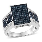 Blue Diamond (IR), Diamond Platinum Over Sterling Silver Ring (Size 6.0) TDiaWt 0.99 cts, TGW 0.985 cts.