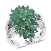 Kagem Zambian Emerald, White Topaz Platinum Over Sterling Silver Ring (Size 10.0) TGW 5.950 cts.