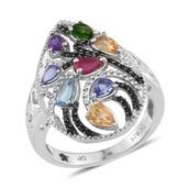 GP Multi Gemstone Platinum Over Sterling Silver Ring (Size 8.0) TGW 2.170 cts.