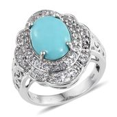 Sonoran Blue Turquoise, White Topaz Platinum Over Sterling Silver Ring (Size 7.0) TGW 5.280 cts.