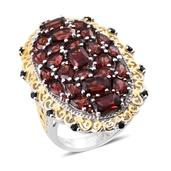 Mozambique Garnet, Thai Black Spinel 14K YG and Platinum Over Sterling Silver Ring (Size 6.0) TGW 9.660 cts.