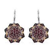 Mahenge Rose Spinel, Thai Black Spinel 14K YG and Platinum Over Sterling Silver Lever Back Earrings TGW 4.87 cts.