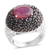 Niassa Ruby, Thai Black Spinel Platinum Over Sterling Silver Openwork Cluster Ring (Size 9.0) TGW 11.340 cts.