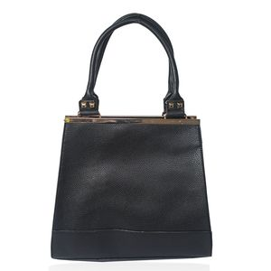Black Vegan Leather Studded Tote with Bonus Shoulder Bag (12.5x5x20 in)