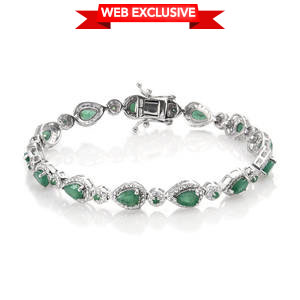 Kagem Zambian Emerald Platinum Over Sterling Silver Bracelet (7.50 In) TGW 5.920 cts.