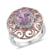Kunzite, White Zircon, Madagascar Pink Sapphire 14K RG and Platinum Over Sterling Silver Ring (Size 7.0) TGW 4.00 cts.