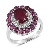 Niassa Ruby, Ruby, White Topaz Platinum Over Sterling Silver Ring (Size 9.0) TGW 6.120 cts.